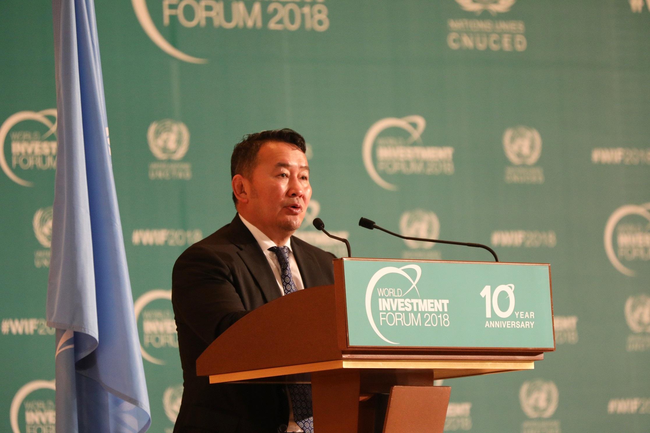 Монгол Улсын Ерөнхийлөгч Х.Баттулгын Дэлхийн удирдагчдын хөрөнгө оруулалтын дээд хэмжээний уулзалтад хэлсэн үг