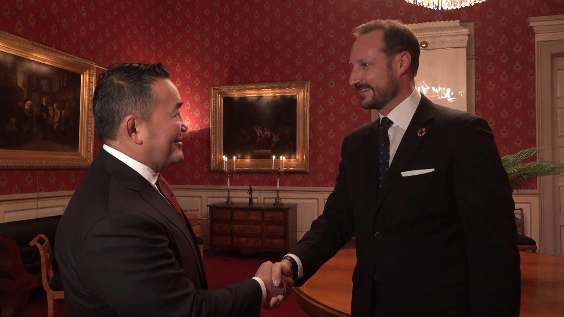 Монгол Улсын Ерөнхийлөгч Х.Баттулга Норвегийн Угсаа залгамжлах Хунтайж Хааконтой уулзлаа
