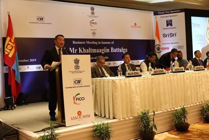 Монгол Улсын Ерөнхийлөгч Х.Баттулга Монгол, Энэтхэгийн бизнес уулзалтад оролцож, үг хэлэв