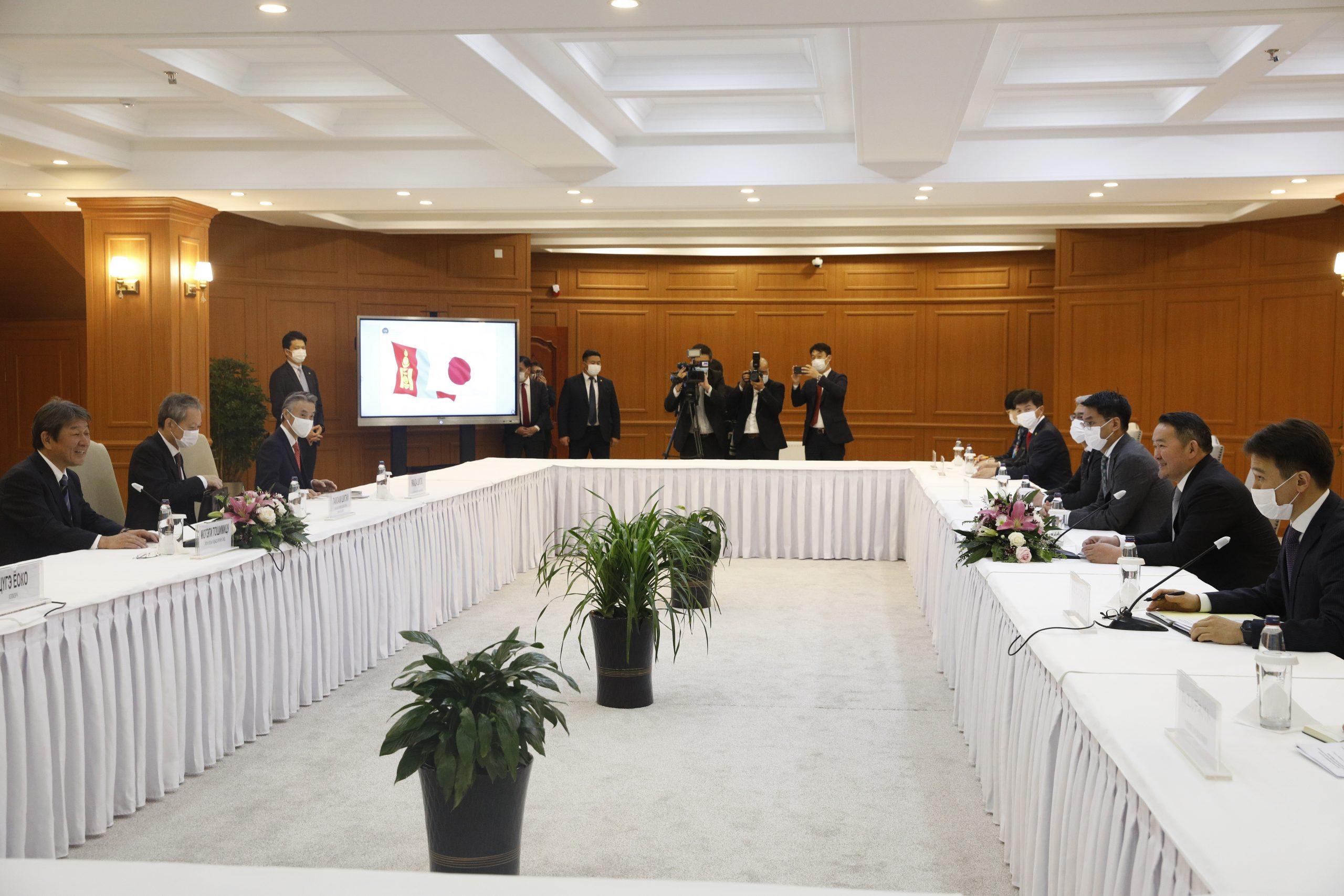 Монгол Улсын Ерөнхийлөгч Х.Баттулгад Японы Гадаад хэргийн сайд Мотэги Тошимицү бараалхлаа