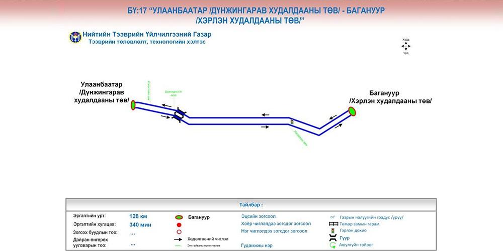"""БҮ:17 """"Улаанбаатар /Дүнжингарав худалдааны төв/- Багануур /Хэрлэн худалдааны төв/"""" чиглэл явж эхэллээ"""